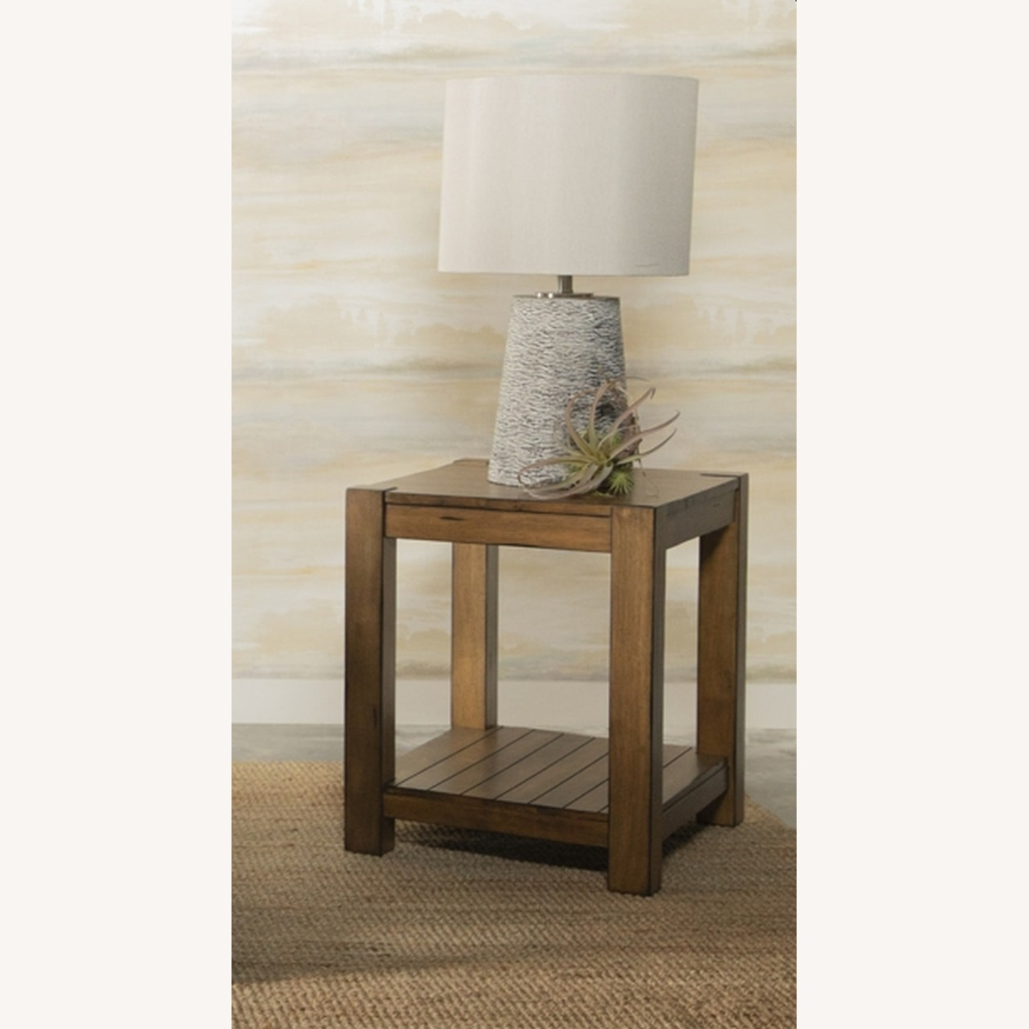 End Table In Solid Wood Rustic Brown Finish - image-2