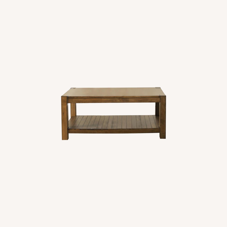 Coffee Table W/ Lower Shelf In Rustic Brown - image-3