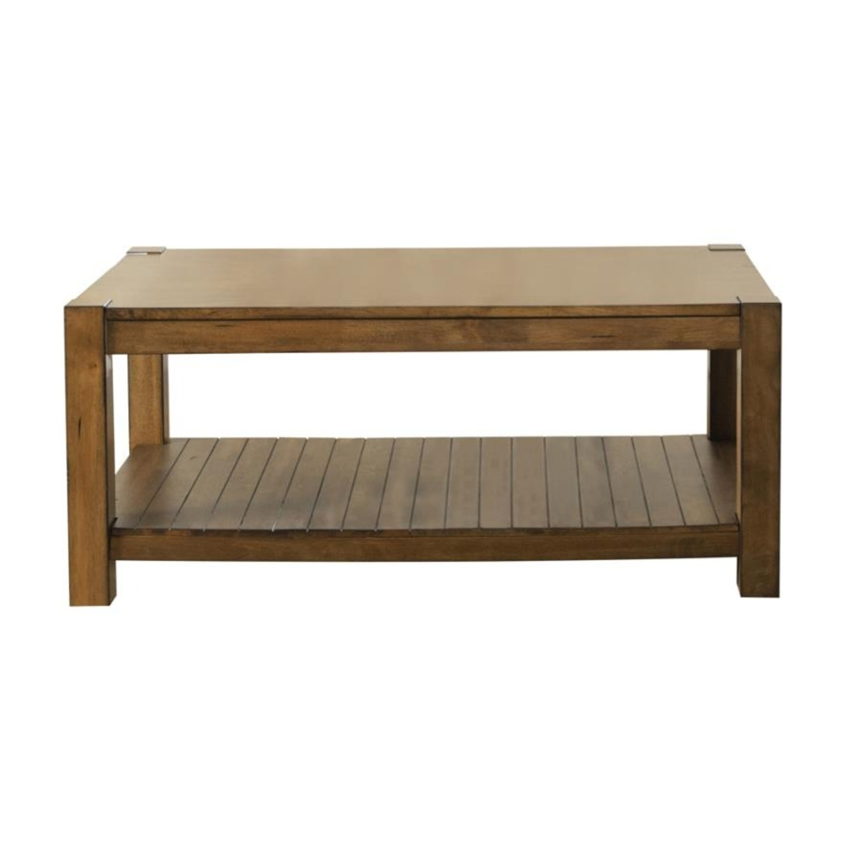 Coffee Table W/ Lower Shelf In Rustic Brown - image-0