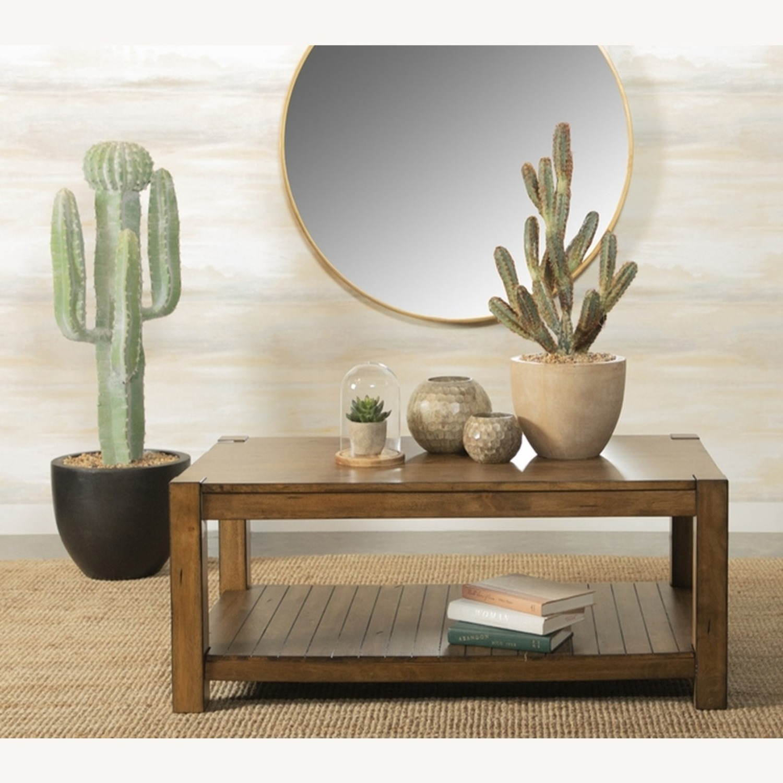 Coffee Table W/ Lower Shelf In Rustic Brown - image-1