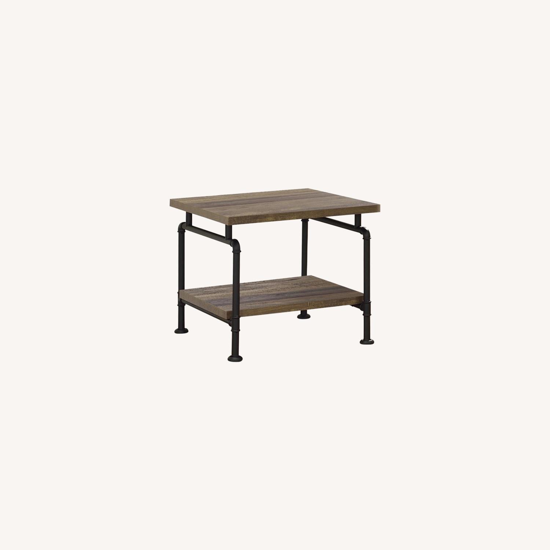 Modern End Table In Rustic Oak & Black Finish - image-3