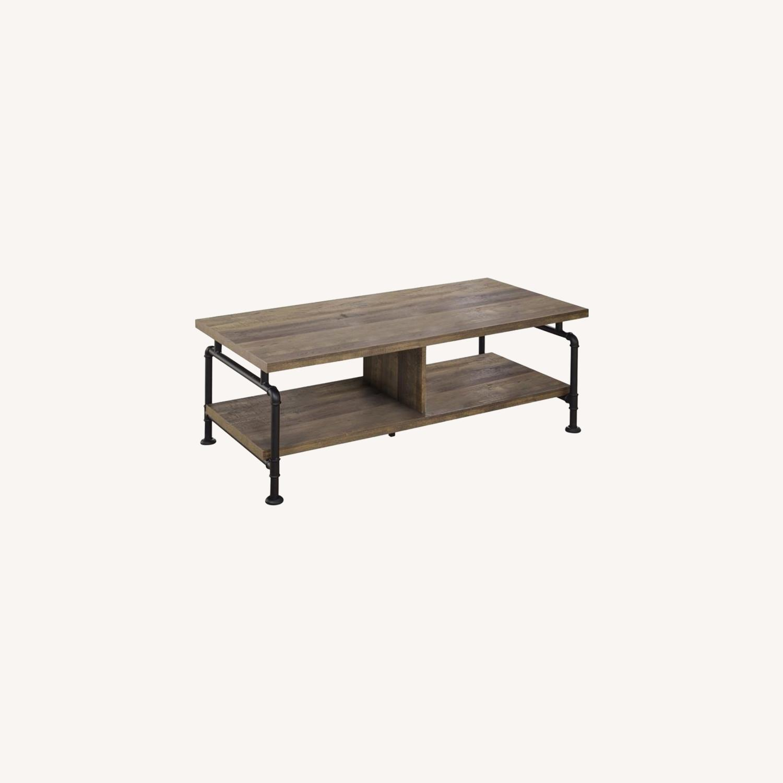 Coffee Table In Rustic Oak W/ Metal Pipe Legs - image-3