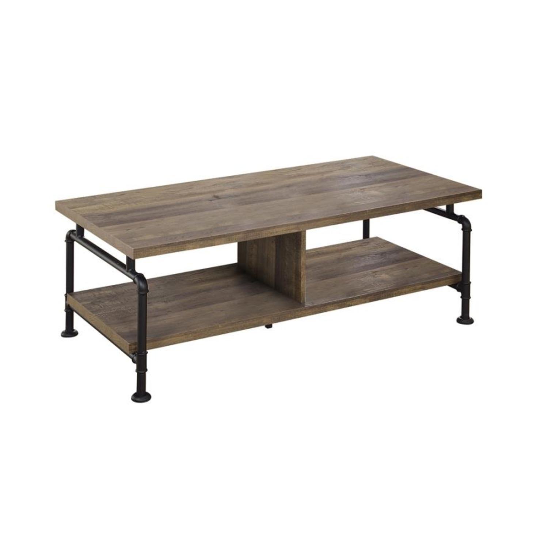 Coffee Table In Rustic Oak W/ Metal Pipe Legs - image-0