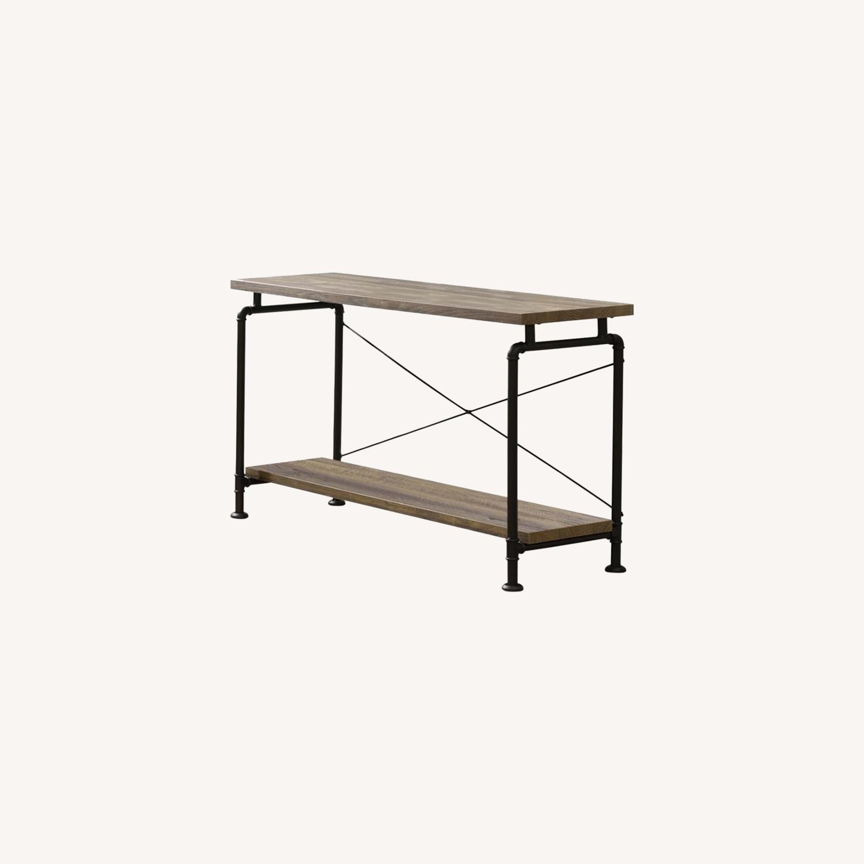 Sofa Table In Rustic Oak W/ Metal Pipe Legs - image-3