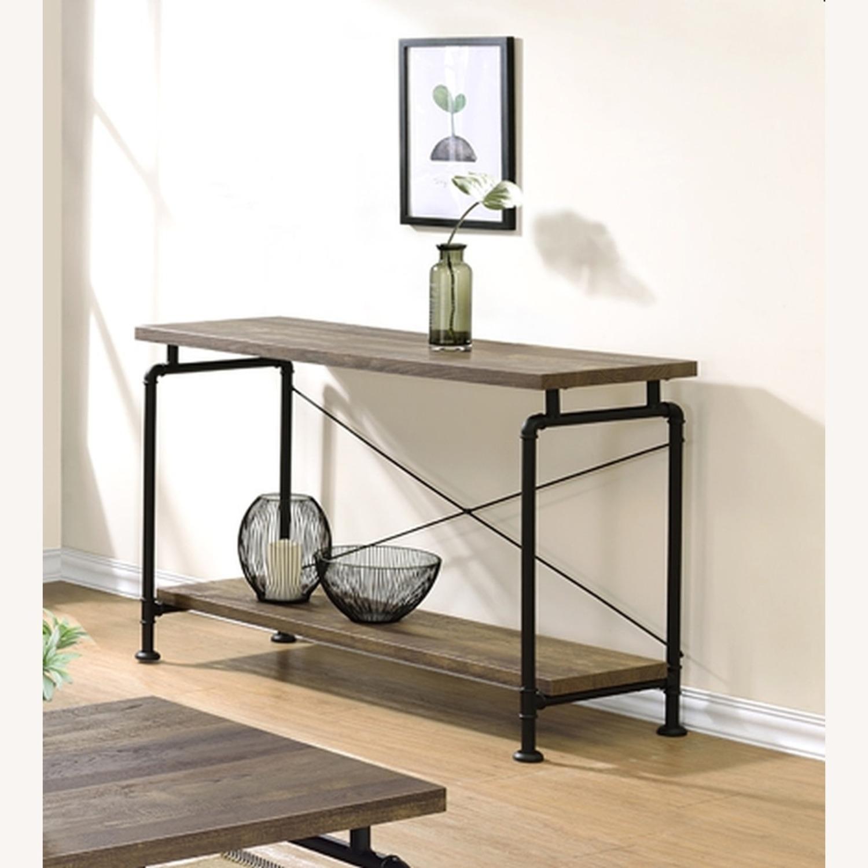 Sofa Table In Rustic Oak W/ Metal Pipe Legs - image-1