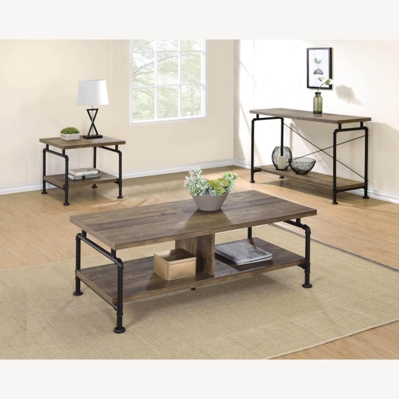 Sofa Table In Rustic Oak W/ Metal Pipe Legs - image-2
