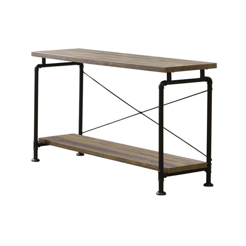 Sofa Table In Rustic Oak W/ Metal Pipe Legs - image-0