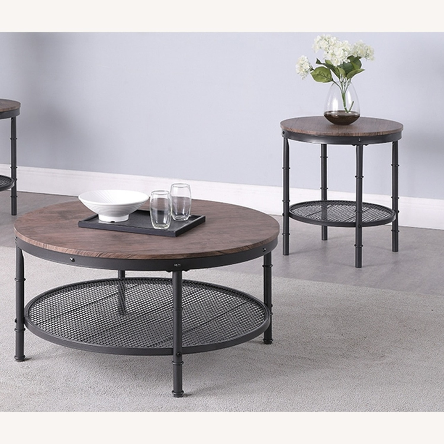 3-Piece Occasional Table In Weathered Brown Finish - image-2