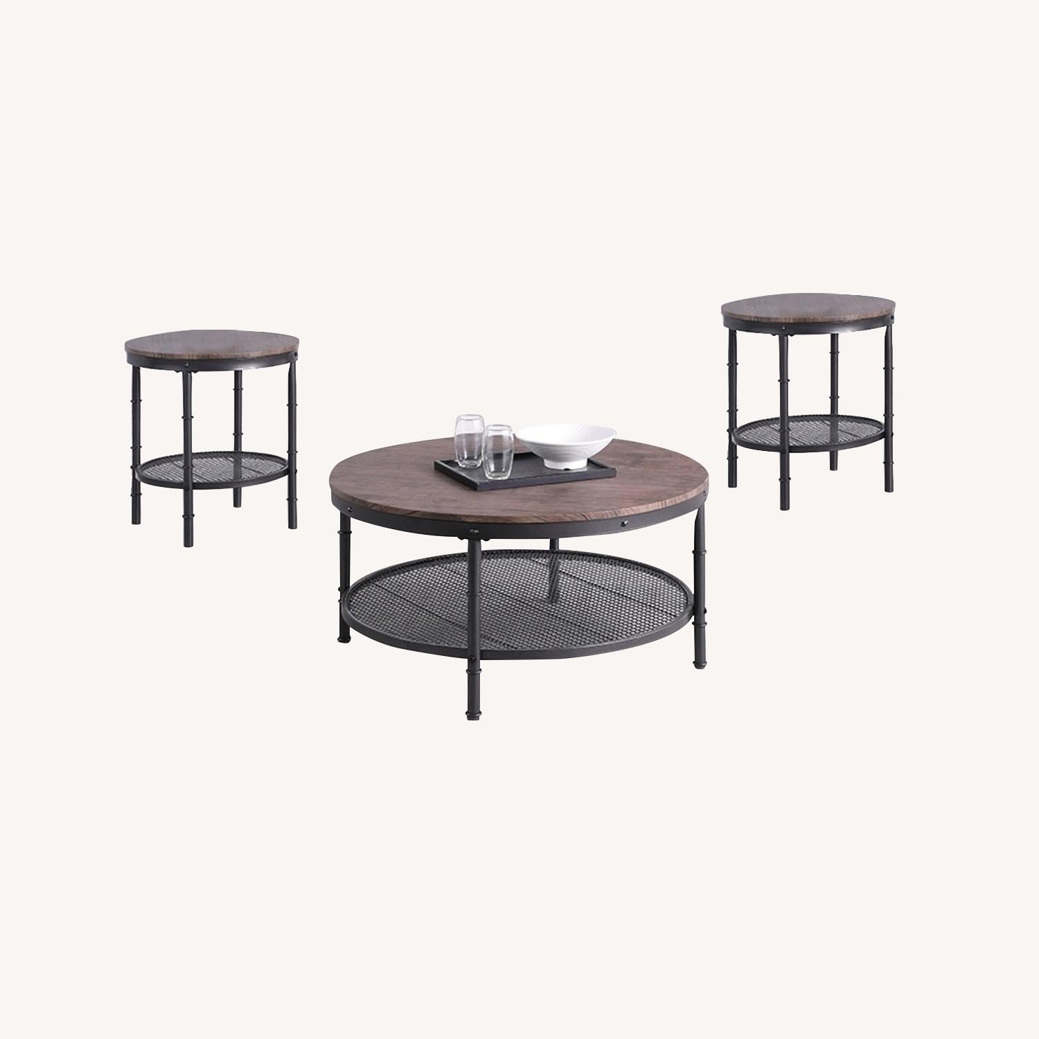 3-Piece Occasional Table In Weathered Brown Finish - image-3