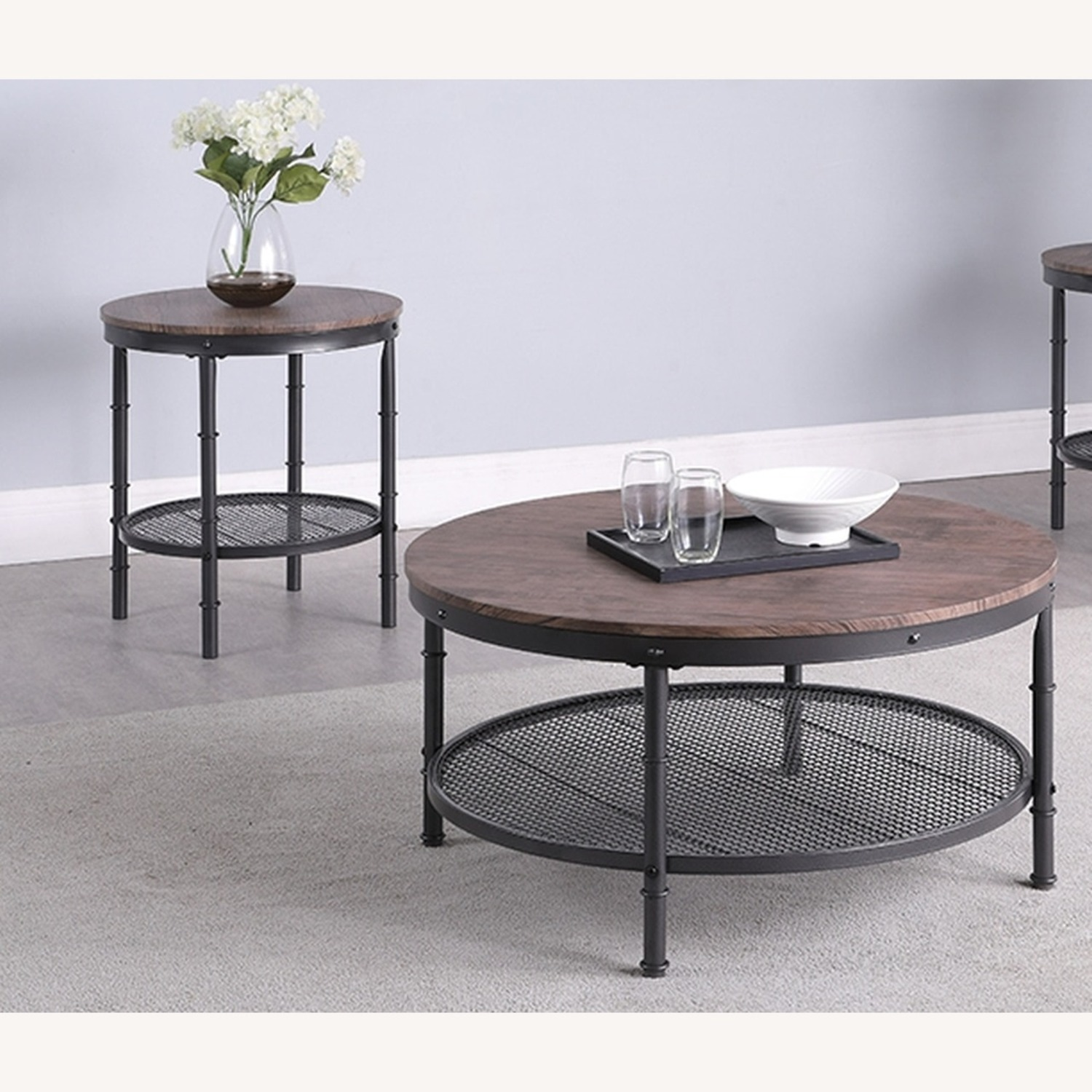 3-Piece Occasional Table In Weathered Brown Finish - image-1