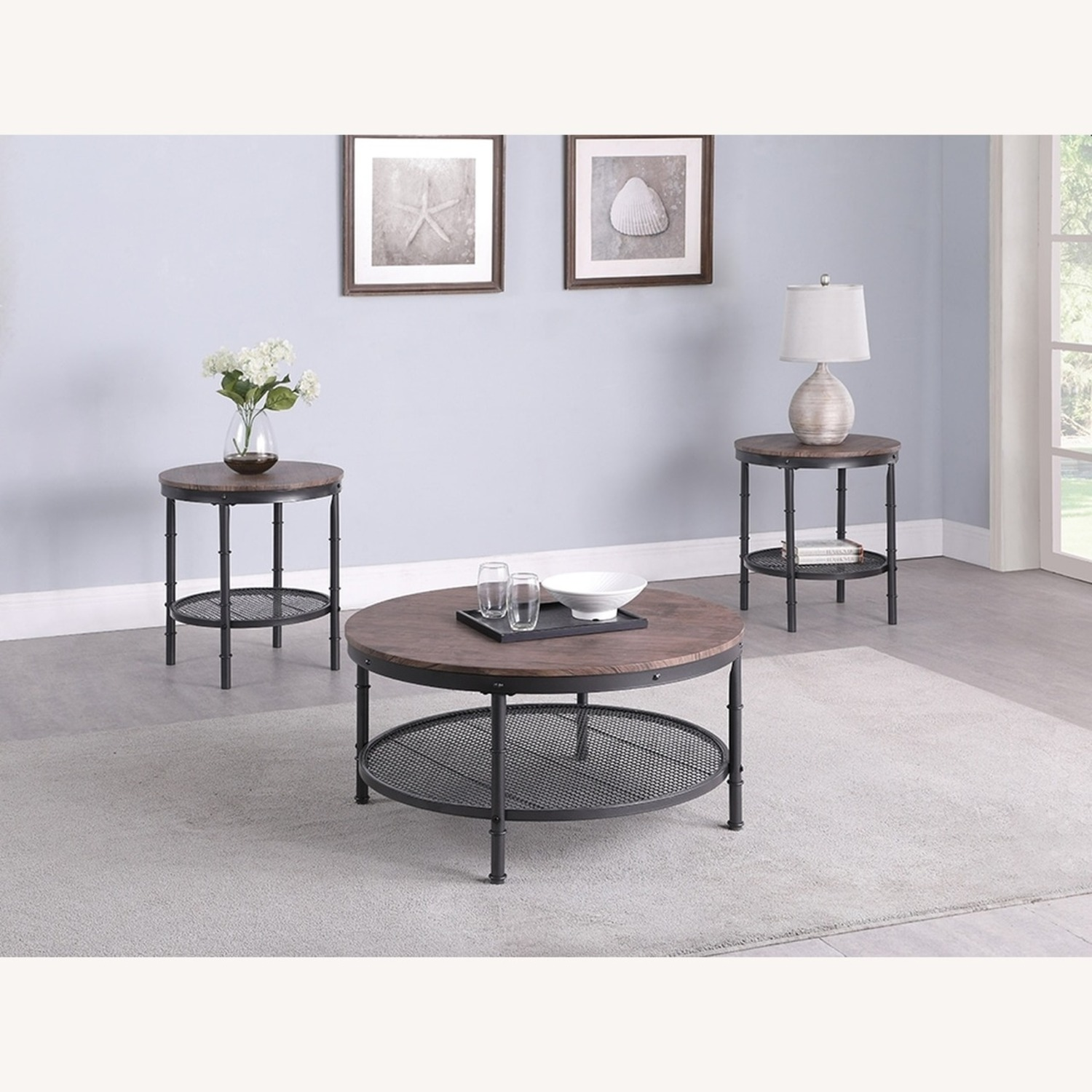 3-Piece Occasional Table In Weathered Brown Finish - image-0