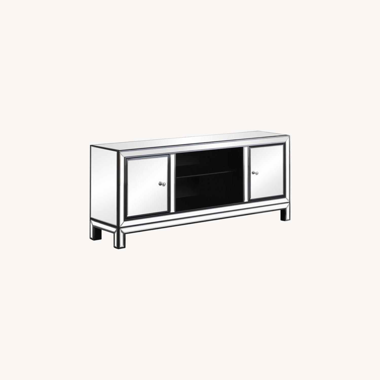 TV Console W/ Adjustable Shelf In Silver Finish - image-3
