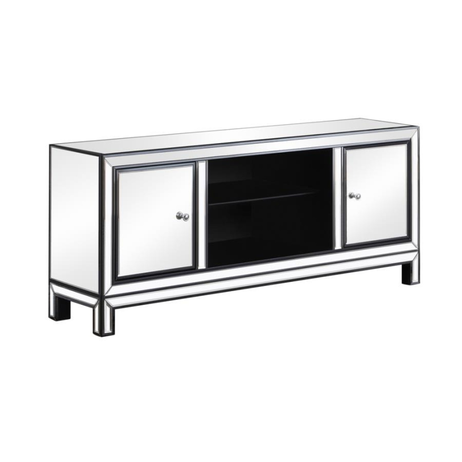 TV Console W/ Adjustable Shelf In Silver Finish - image-1