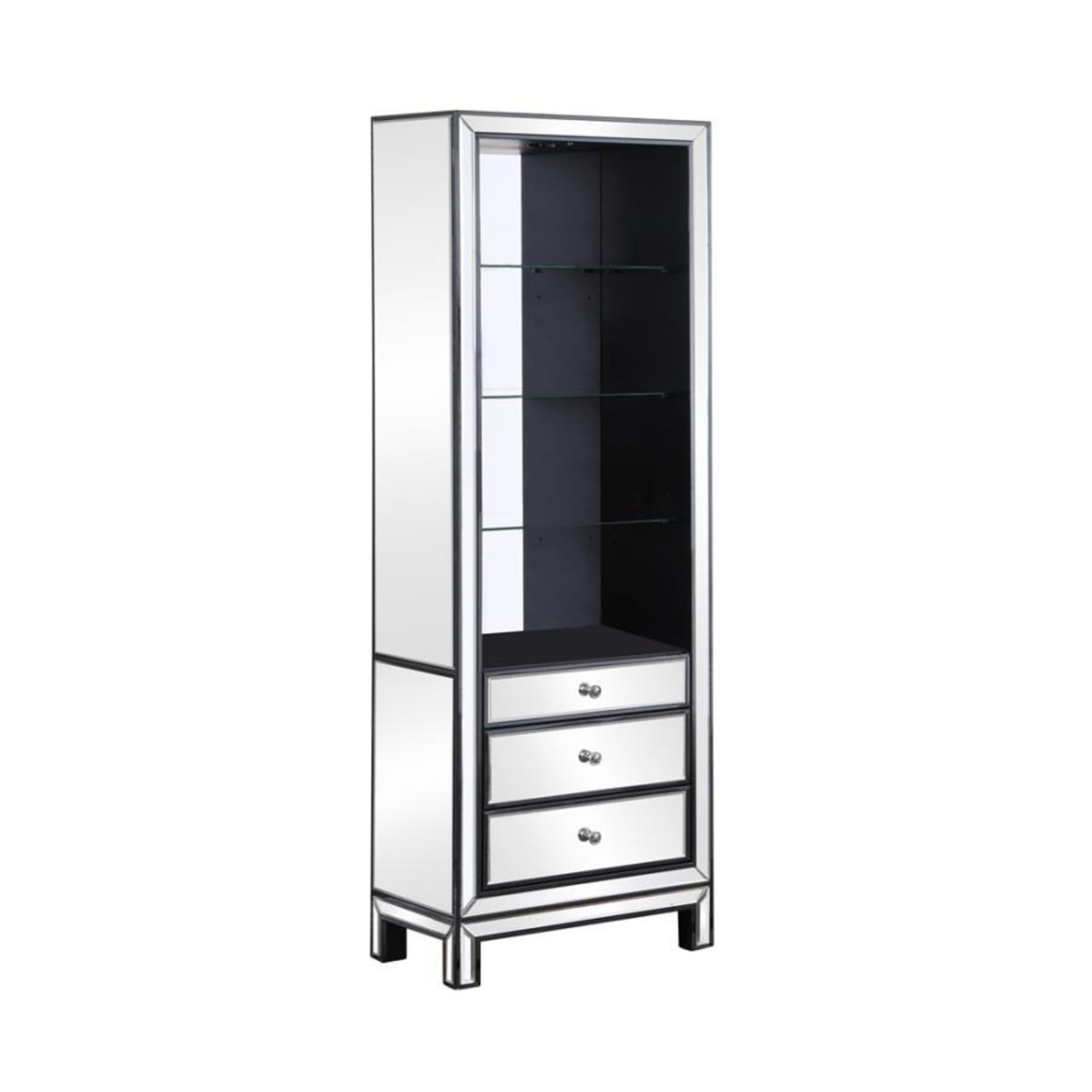 Media Tower W/ Glass Shelves In Silver Finish - image-1