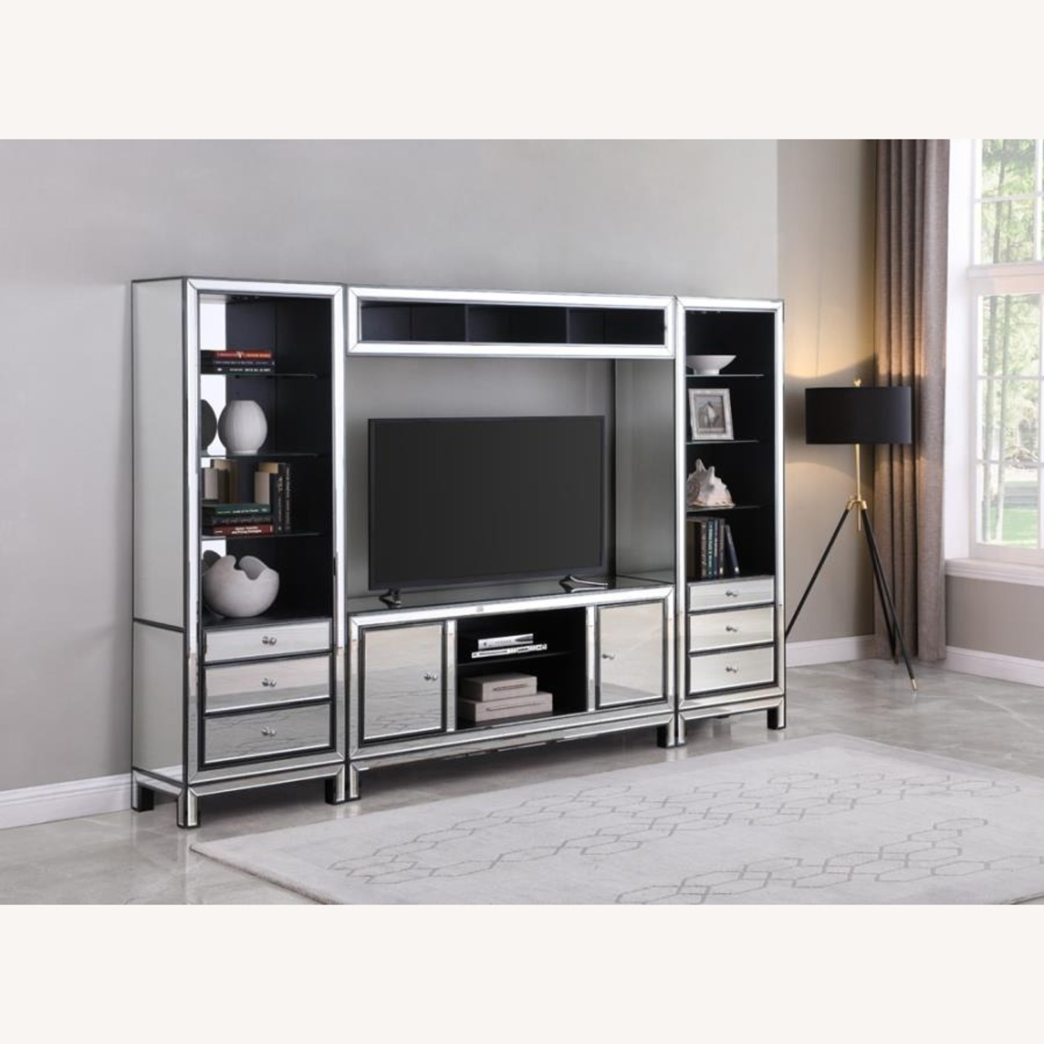 Media Tower W/ Glass Shelves In Silver Finish - image-2