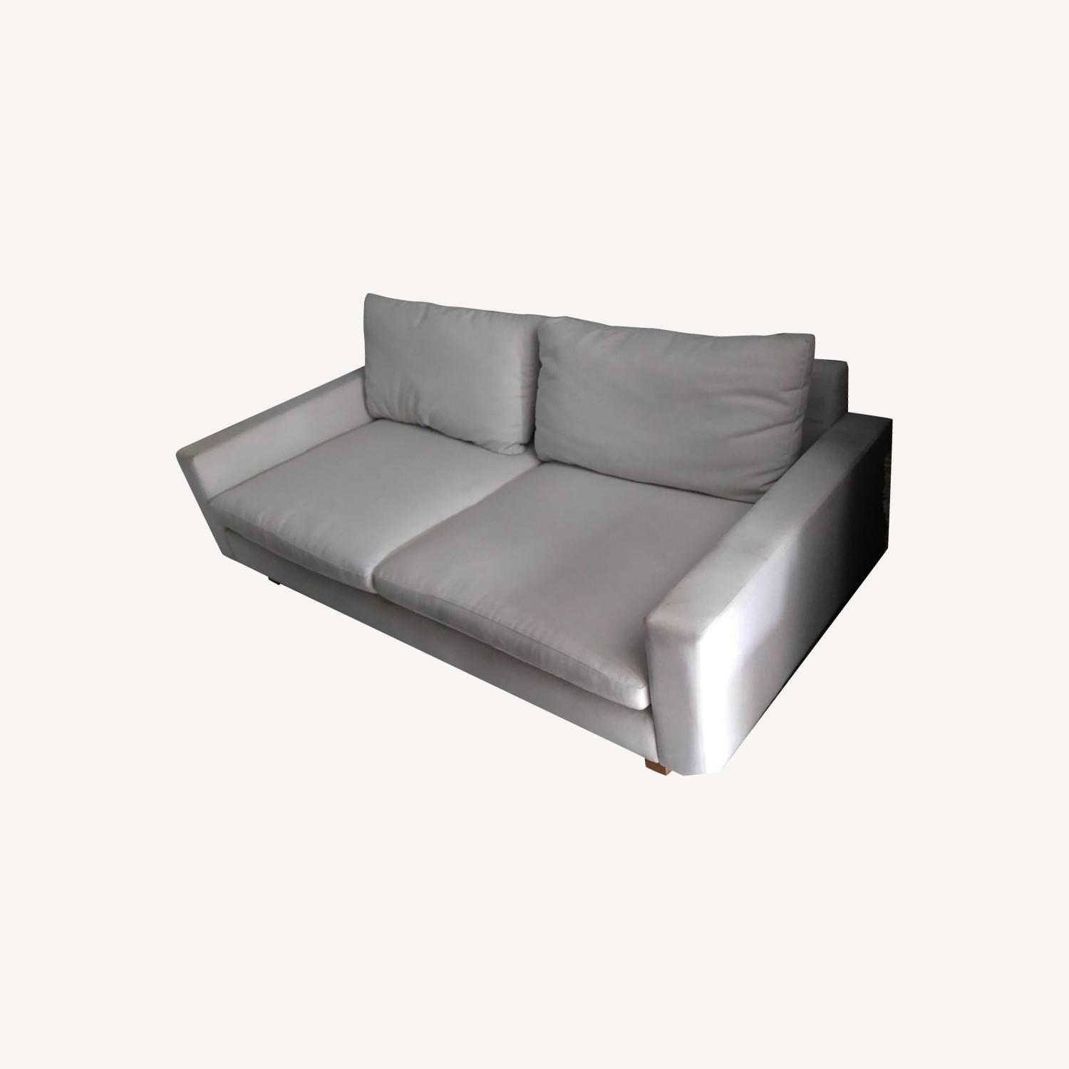 Comfortable Fabric White Deep Couch - image-0