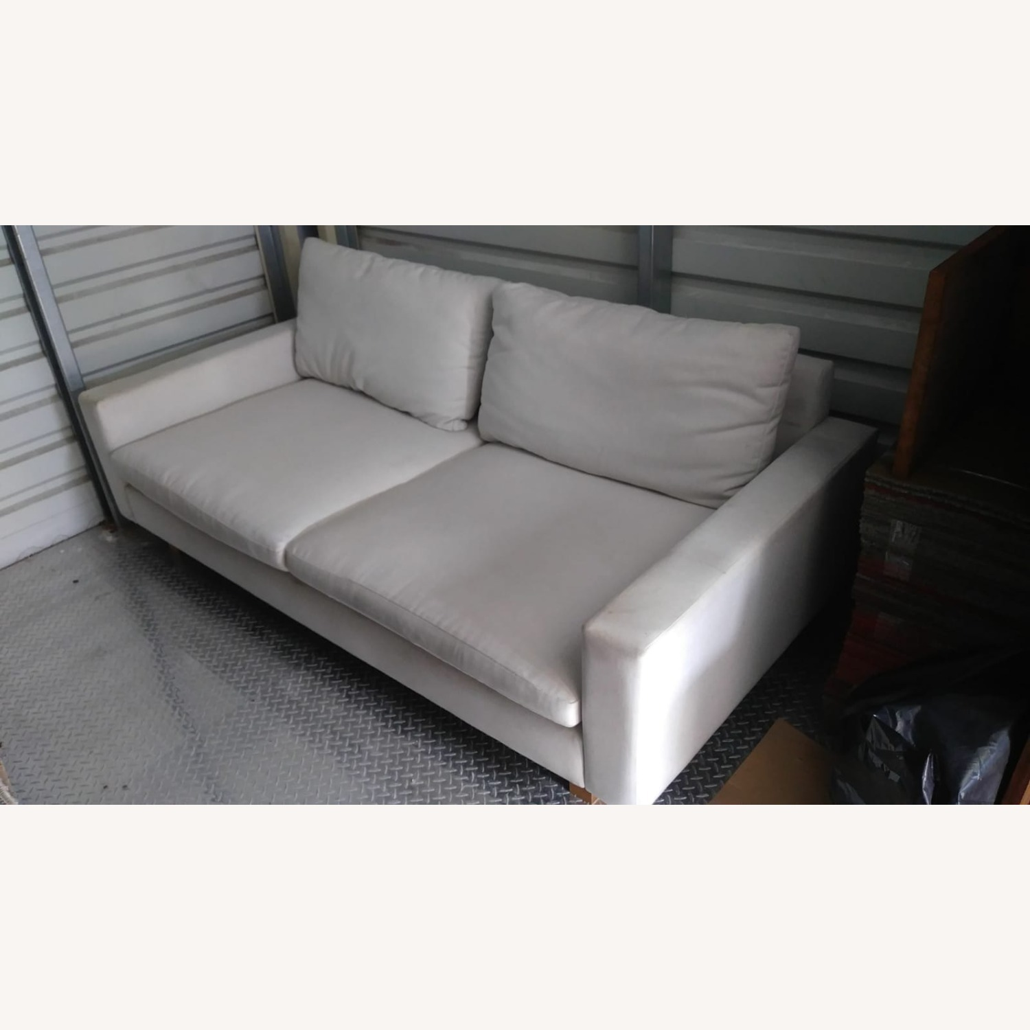Comfortable Fabric White Deep Couch - image-1