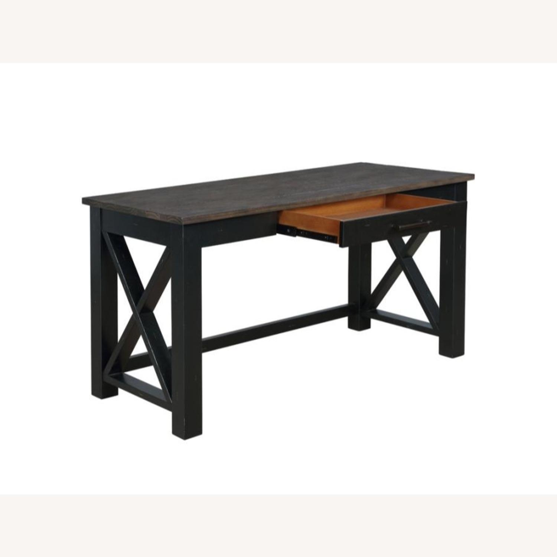 Solid Wood Writing Desk In Vintage Black Finish - image-1