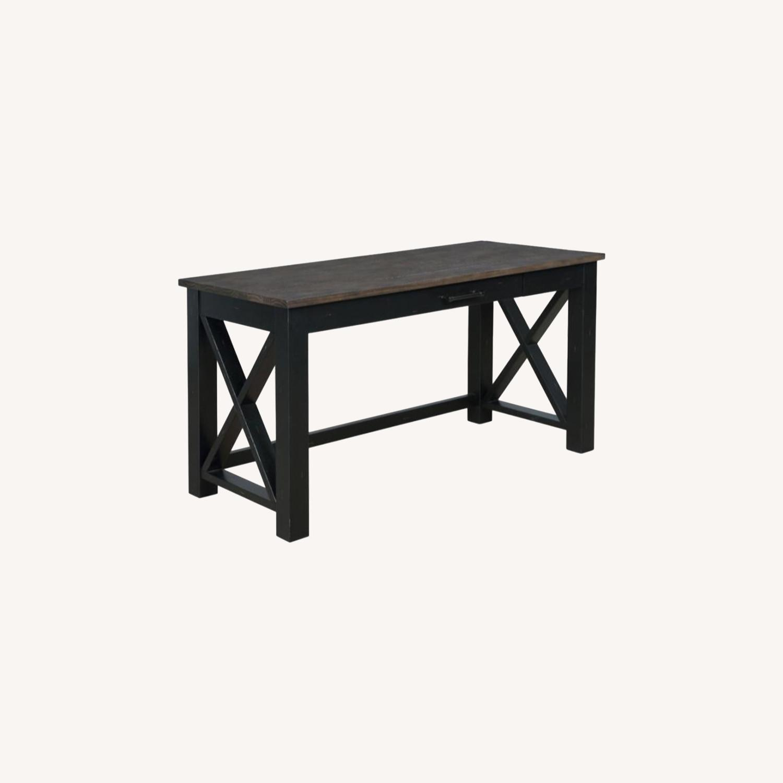 Solid Wood Writing Desk In Vintage Black Finish - image-4