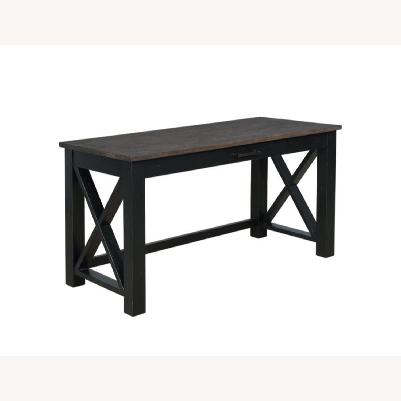 Solid Wood Writing Desk In Vintage Black Finish - image-0