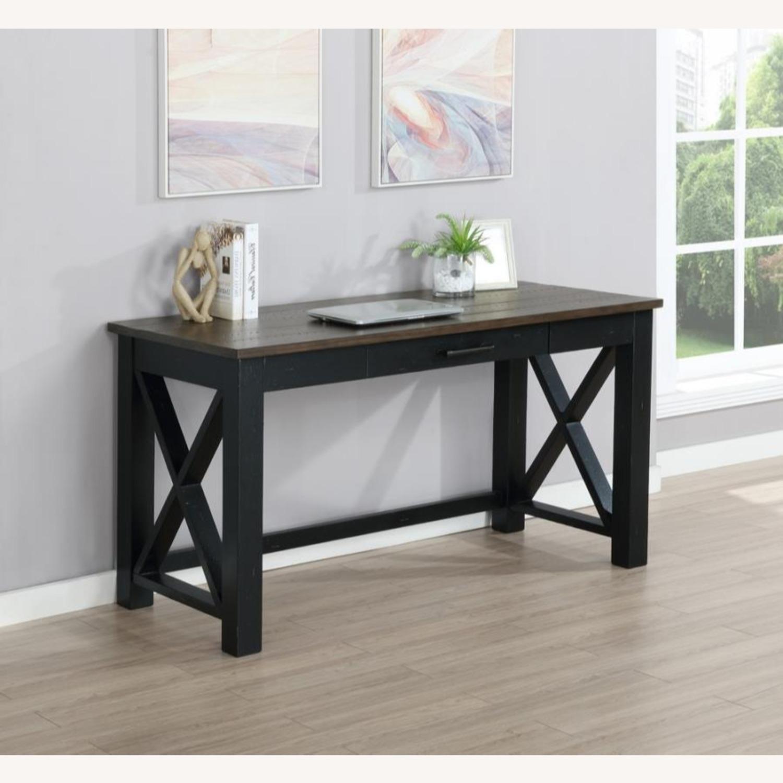 Solid Wood Writing Desk In Vintage Black Finish - image-3