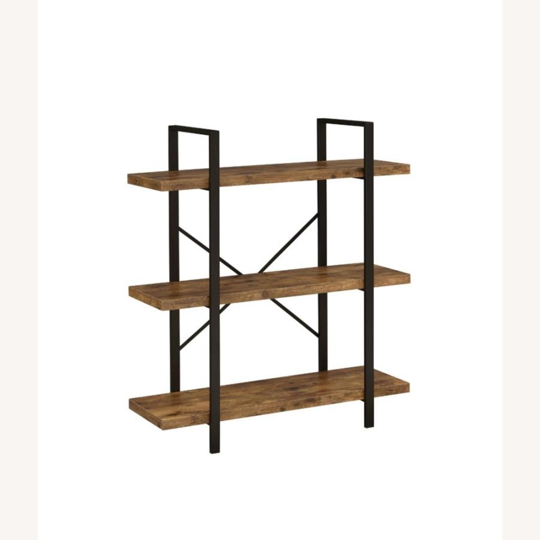 Bookcase W/ 3 Shelves In Antique Nutmeg Finish - image-0