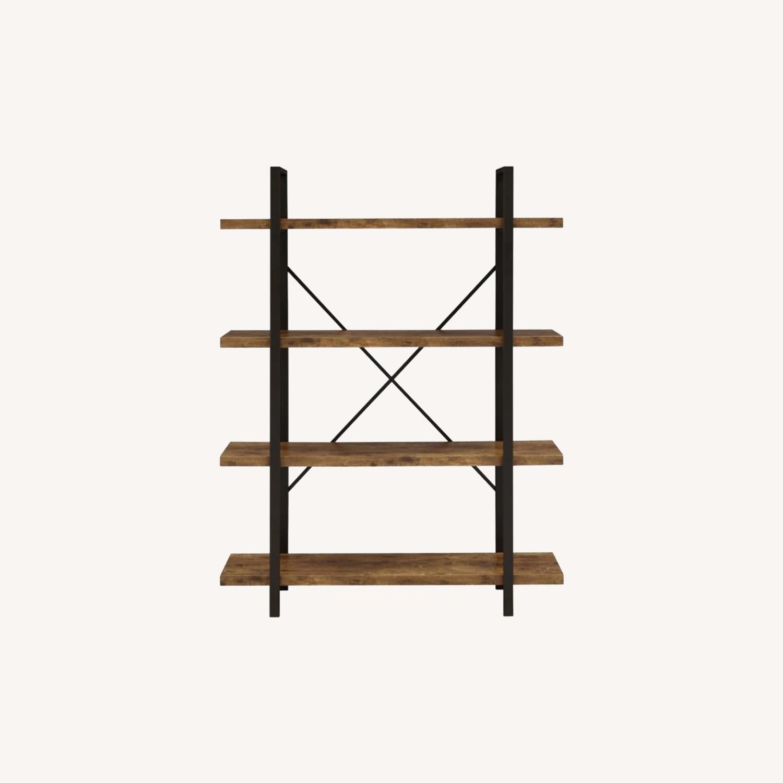 Bookcase W/ 4 Shelves In Antique Nutmeg Finish - image-4