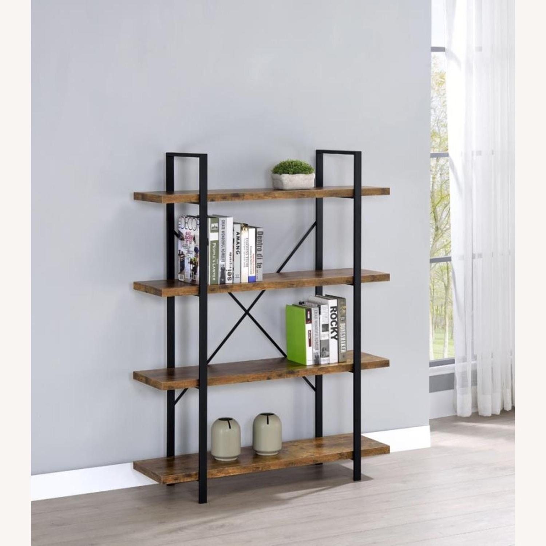 Bookcase W/ 4 Shelves In Antique Nutmeg Finish - image-3