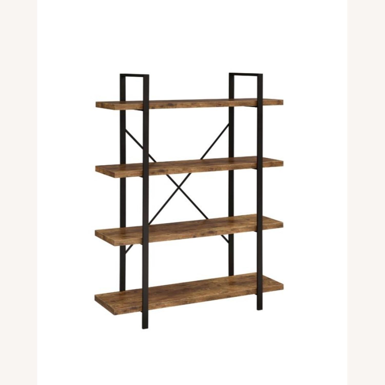Bookcase W/ 4 Shelves In Antique Nutmeg Finish - image-0
