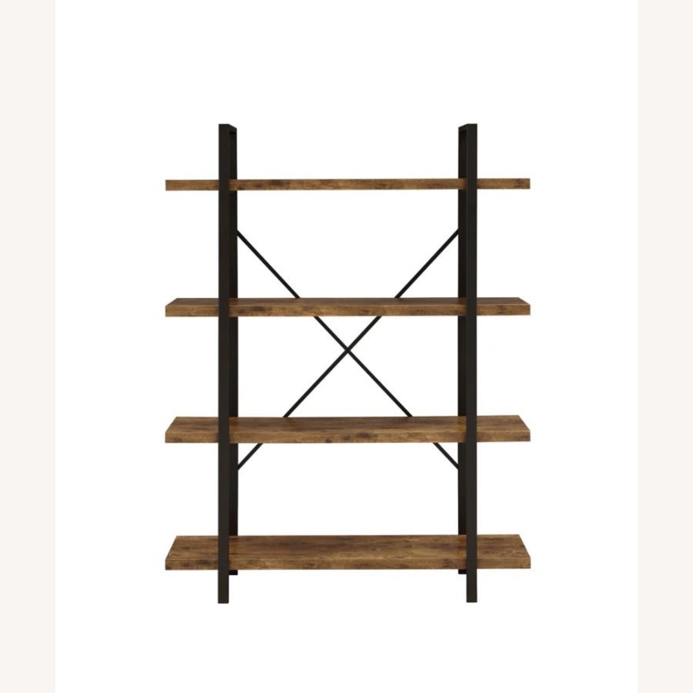 Bookcase W/ 4 Shelves In Antique Nutmeg Finish - image-1