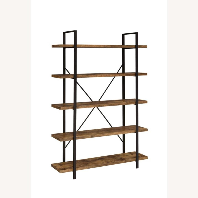 Bookcase W/ 5 Shelves In Antique Nutmeg Finish - image-0