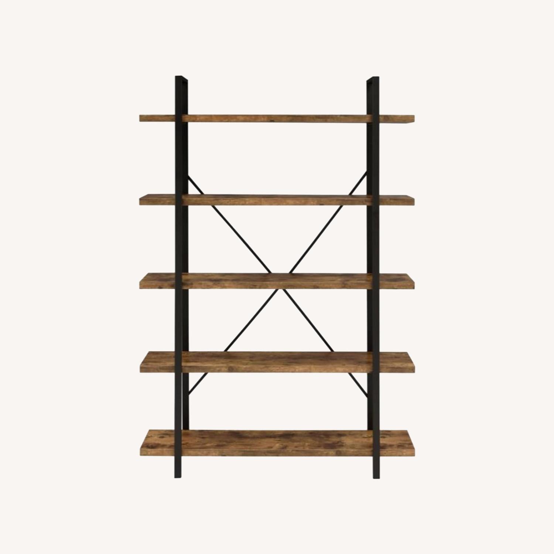 Bookcase W/ 5 Shelves In Antique Nutmeg Finish - image-4
