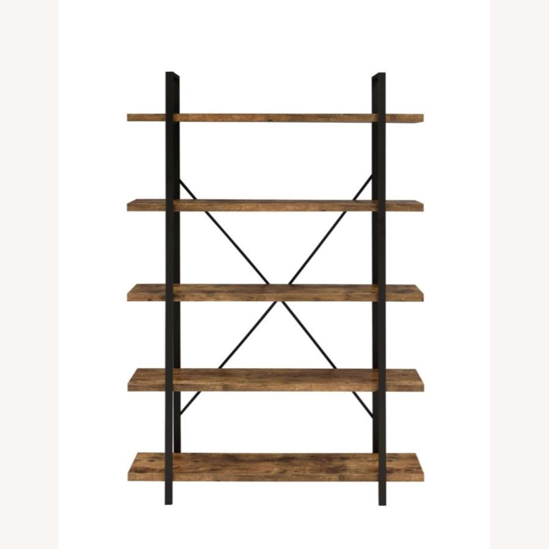 Bookcase W/ 5 Shelves In Antique Nutmeg Finish - image-1