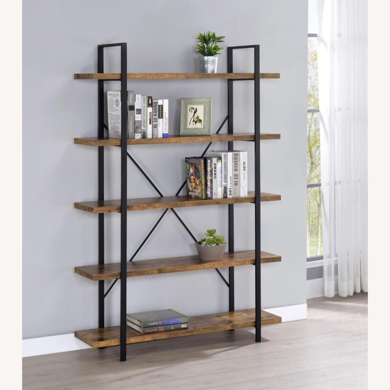 Bookcase W/ 5 Shelves In Antique Nutmeg Finish - image-3