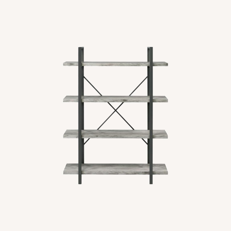 Bookcase W/ 4 Shelves In Grey Driftwood Finish - image-5