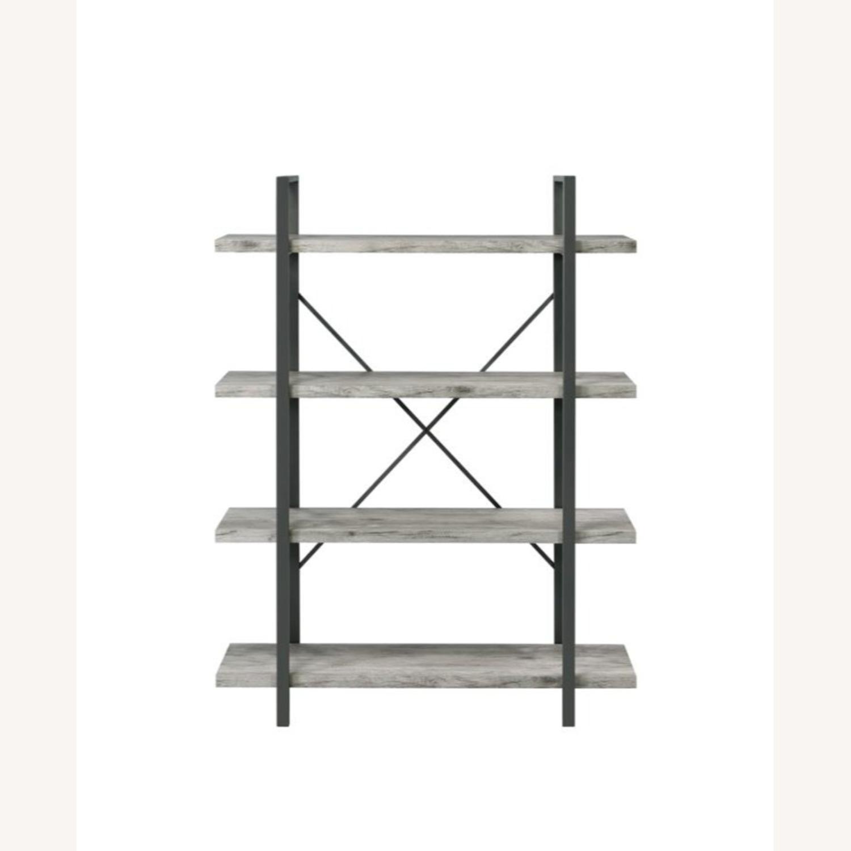 Bookcase W/ 4 Shelves In Grey Driftwood Finish - image-1
