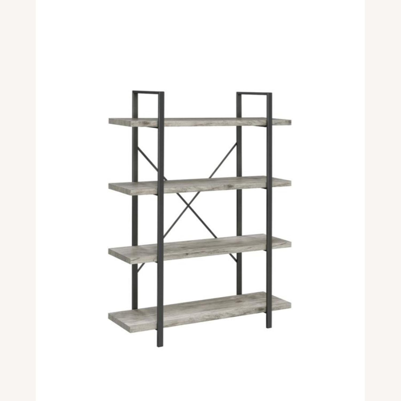 Bookcase W/ 4 Shelves In Grey Driftwood Finish - image-0