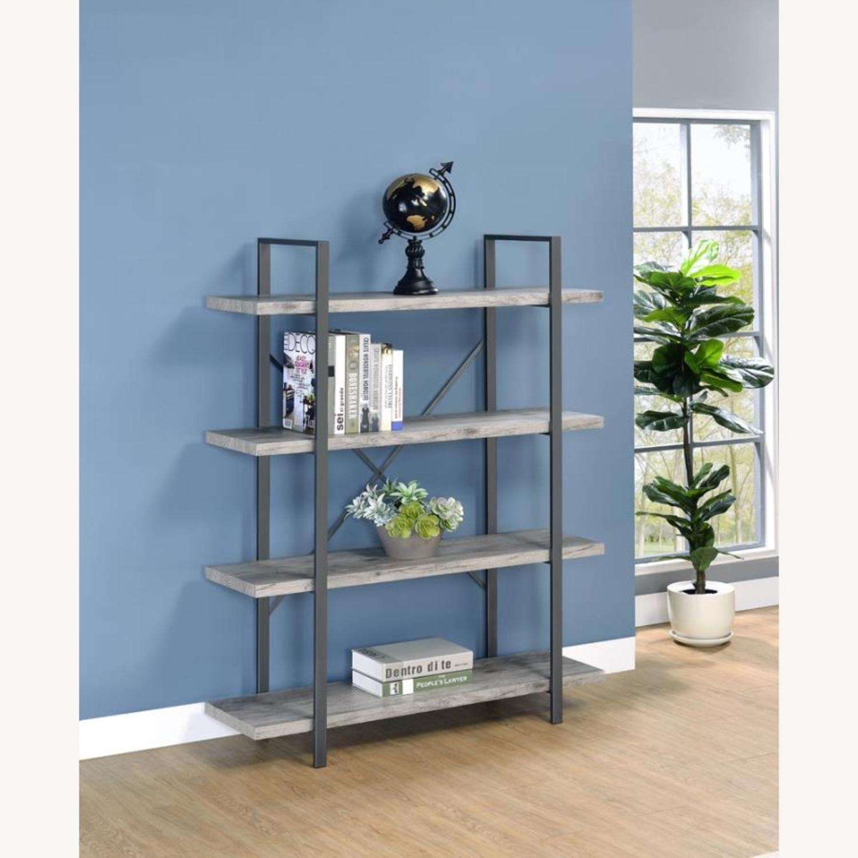 Bookcase W/ 4 Shelves In Grey Driftwood Finish - image-3