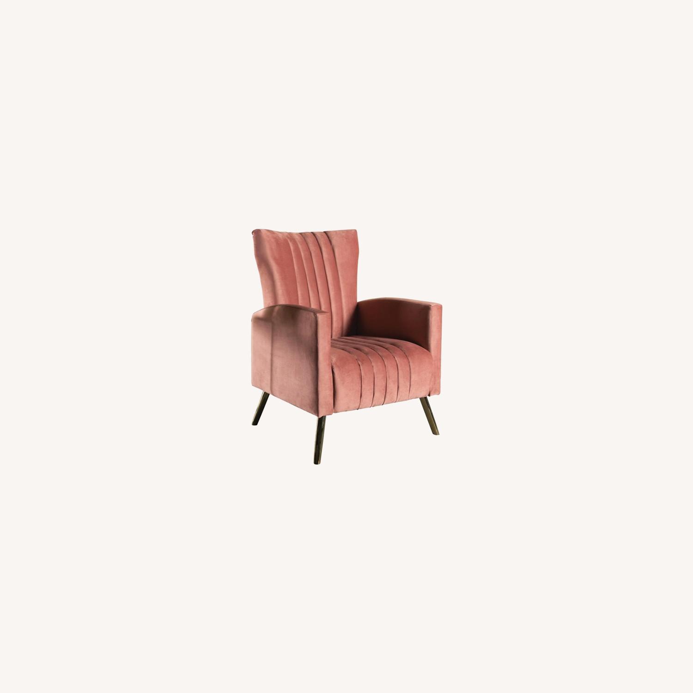 Accent Chair In Rose Velvet Upholstery - image-3