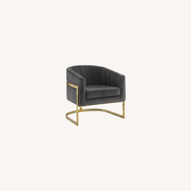 Accent Chair Upholstered In Soft Velvet Dark Grey - image-4