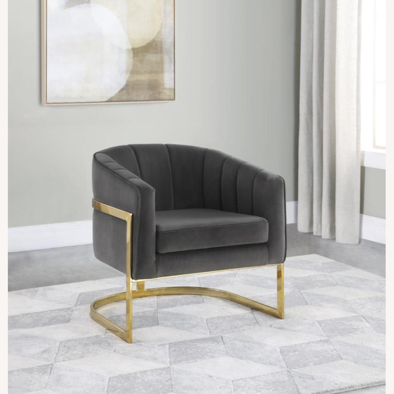 Accent Chair Upholstered In Soft Velvet Dark Grey - image-3