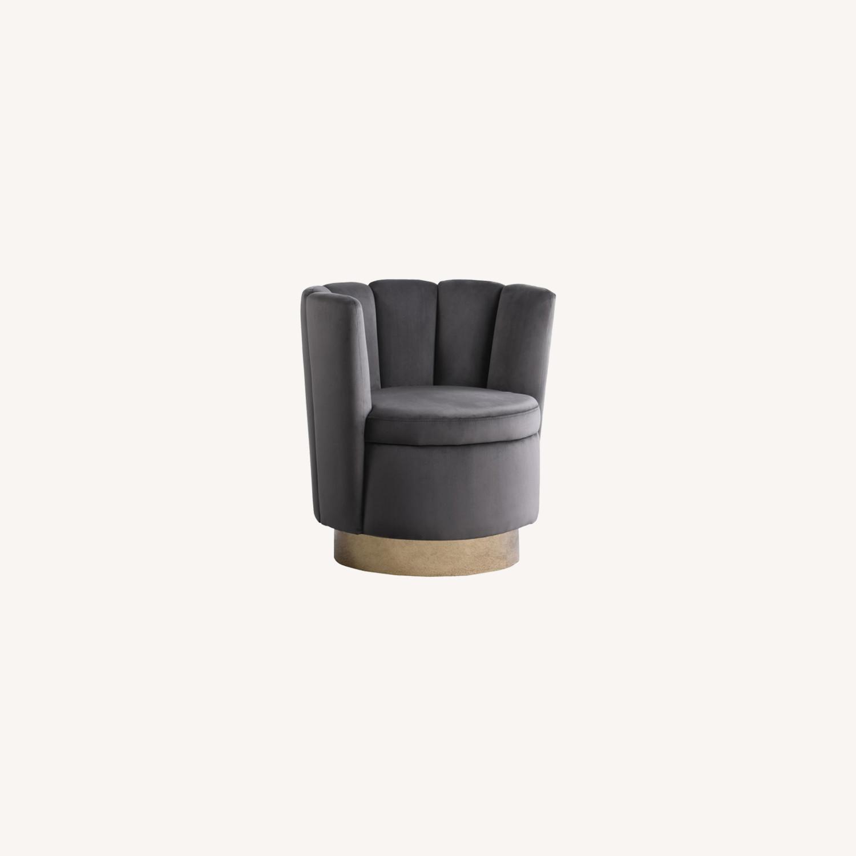 Accent Chair W/ Shell-Like Design In Grey Velvet  - image-3