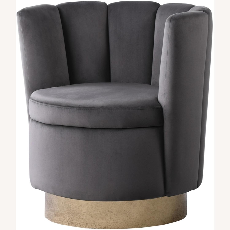 Accent Chair W/ Shell-Like Design In Grey Velvet  - image-1