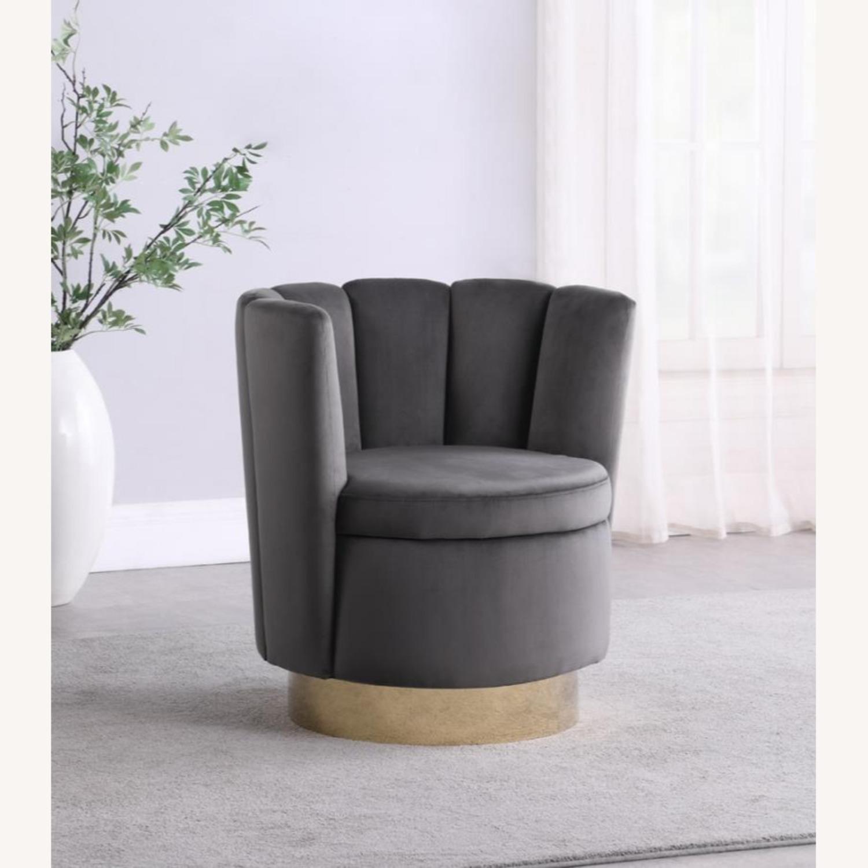 Accent Chair W/ Shell-Like Design In Grey Velvet  - image-2