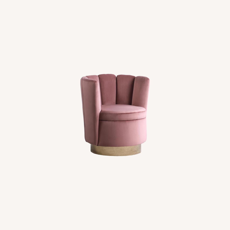 Accent Chair W/ Shell-Like Design In Rose Velvet - image-3