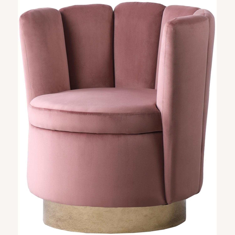 Accent Chair W/ Shell-Like Design In Rose Velvet - image-1
