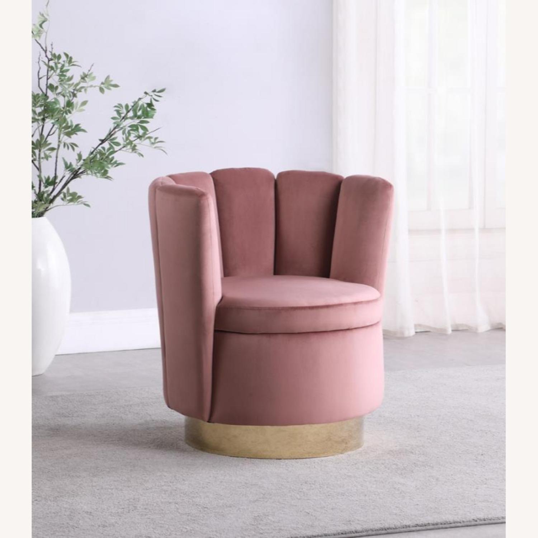 Accent Chair W/ Shell-Like Design In Rose Velvet - image-2