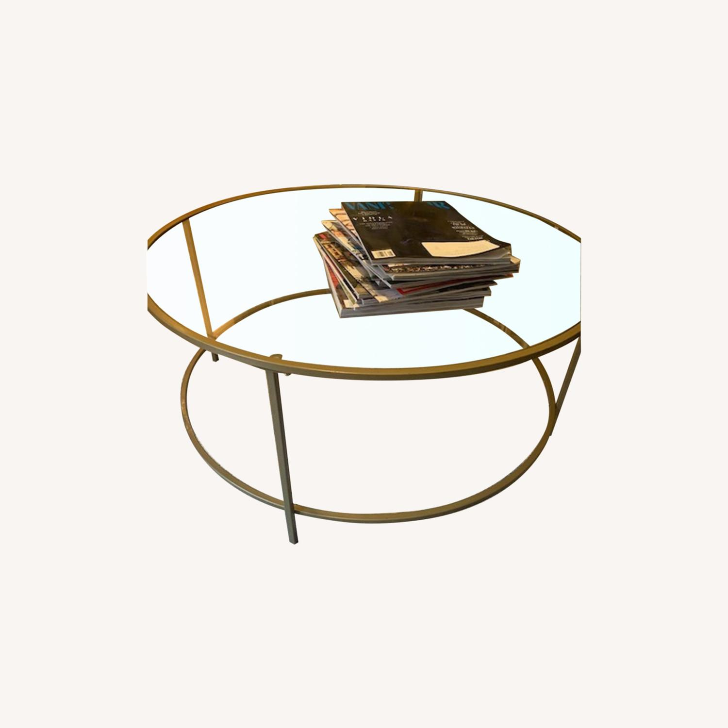 Round Gold Framed Glass Coffee Table - image-0