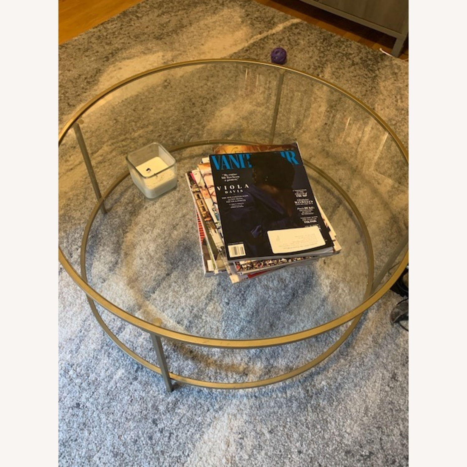 Round Gold Framed Glass Coffee Table - image-2