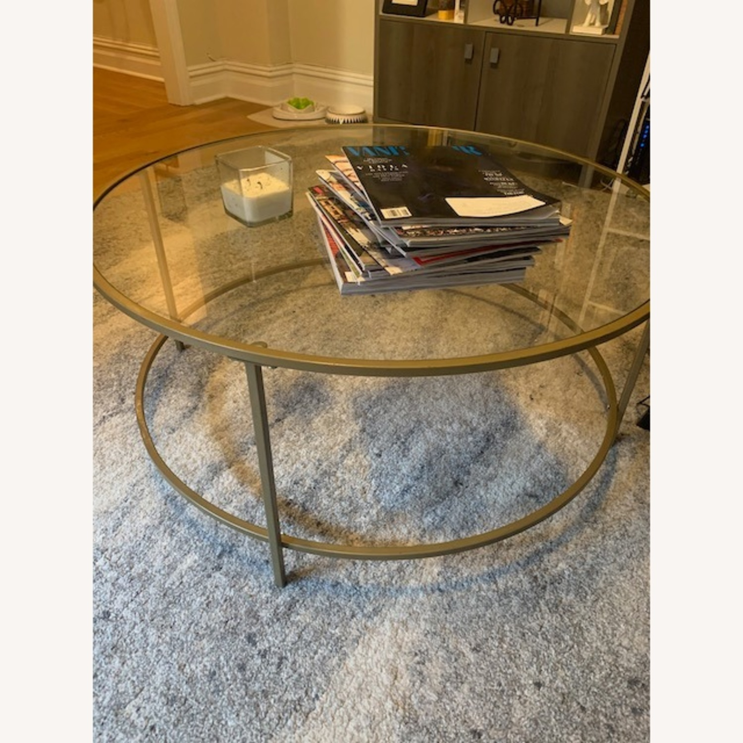 Round Gold Framed Glass Coffee Table - image-1